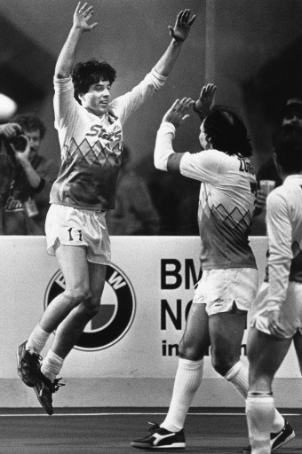 Tacoma Stars MISL soccer heros Preki, left, and Steve Zungul celebrate in their romp over Los Angeles in the Tacoma Dome on March 29, 1987.