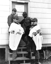 L. to R.: Steve Whitaker (Lincoln HS) holding his Seattle Pilots jersey, Rick Austin (Lakes HS), Bill Murphy (Clover Park HS), and Ron Cey (Mt. Tahoma HS) holding his Los Angeles Dodgers jersey while in basic training at Ft. Lewis in 1969.