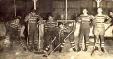 1938 Cammarano Bros hockey team. L. to R.: Spud Zemek, Lon Bishop, Stan Goldsberry, Bill Anderson, Louie Weir and Russ Heglund.