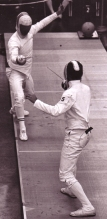 Chuck Richards, a three-time high school All-American swimmer at Stadium High School and pentathlon participant in the 1972 Olympic Games shown fencing.