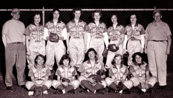 The Hollywood Boat & Motor team was one of the top women's fastpitch teams in the mid-50s. Pitcher Louise Mazzuca (back row, third from left), was a pitching phenom and in 2007 she was enshrined in the ASA National Softball Hall of Fame, only the second female from the state of Washington to receive this honor.